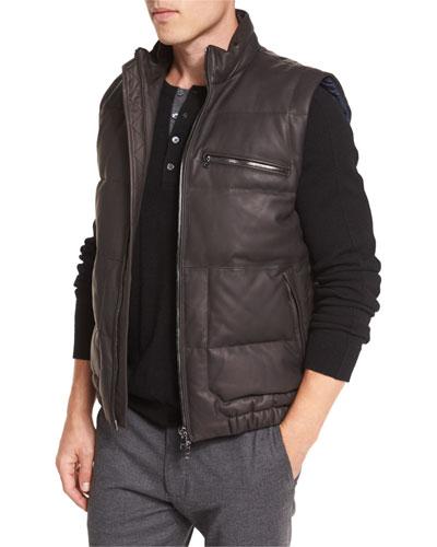 Leather Down-Filled Vest, Espresso Brown