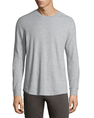 Long-Sleeve Waffle-Knit Sweater, Heather Grey