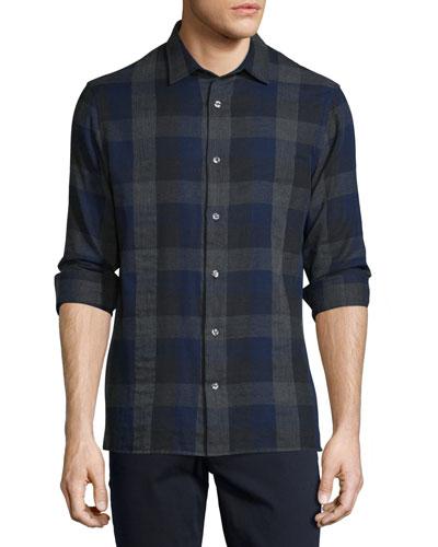 Melrose Melange Plaid Sport Shirt, Blue