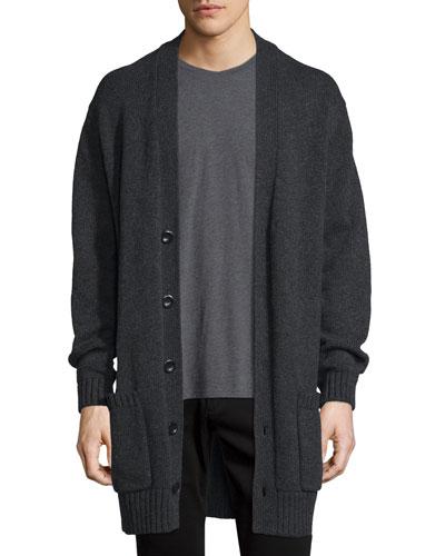 Ribbed-Trim Knit Cardigan Coat, Heather Shadow