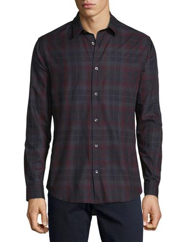 Plaid Lightweight Flannel Sport Shirt, Red Multi