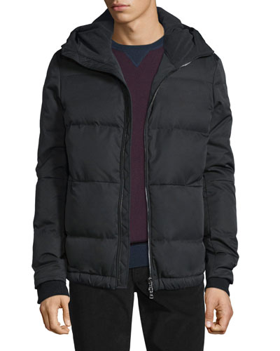 Quilted Down-Filled Hooded Parka, Black