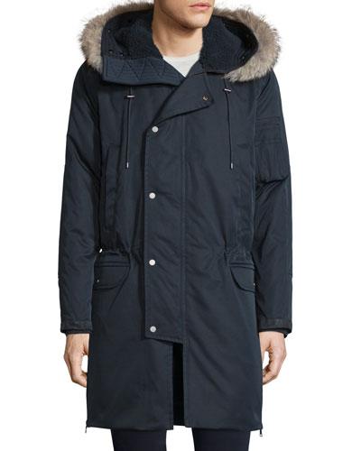 Micro-Fleece Hooded Parka Jacket w/Fur Trim, Coastal