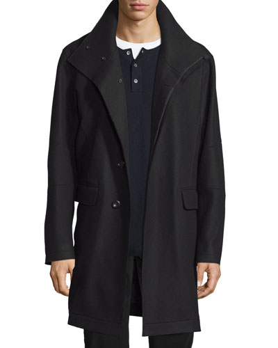 Raw-Edge Single-Breasted Military Coat, Black