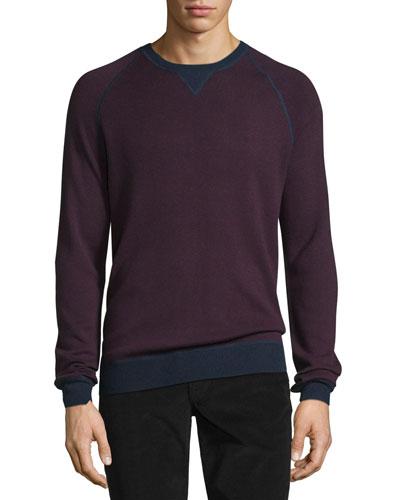 Birdseye Contrast-Trim Crewneck Sweater, Oxblood Red