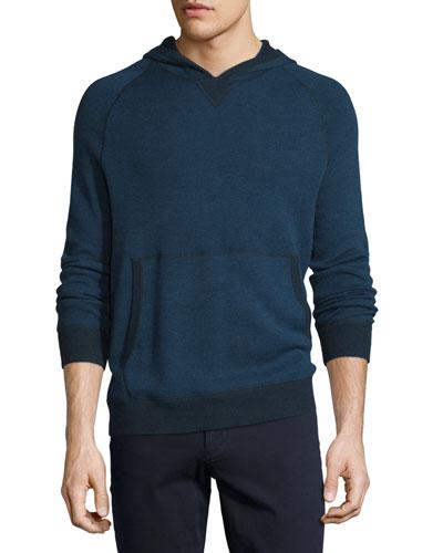 Birdseye Knit Pullover Hoodie, Prussian Blue