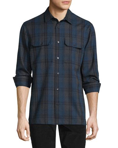Plaid Flannel Military Shirt, Blue/Gray
