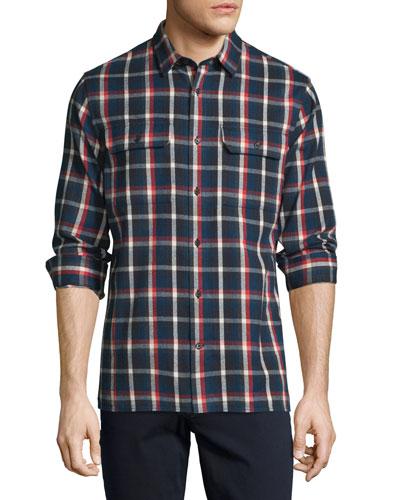 Plaid Flannel Military Shirt, Blue/Red