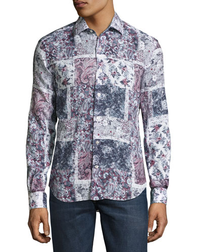 Patchwork Paisley & Floral Sport Shirt, Red/White/Navy