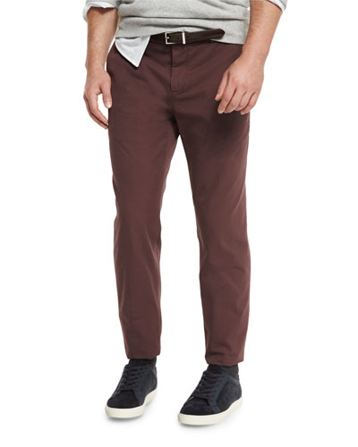 Flat-Front Cotton Pants, Maroon