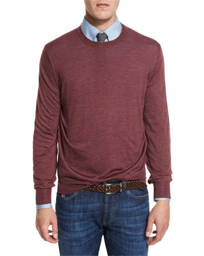 Fine-Gauge Knit Elbow-Patch Sweater, Burgundy