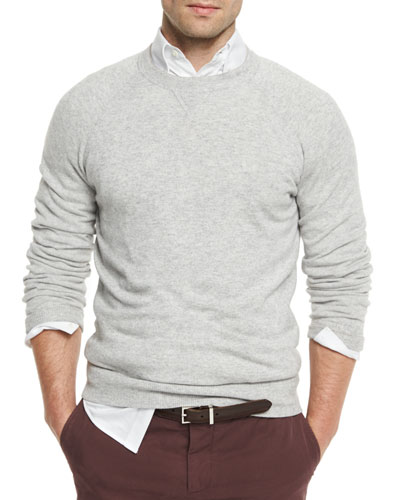 Athletic Crewneck Sweater, Light Gray