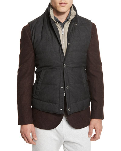 Rustic Quilted Wool Vest, Anthracite