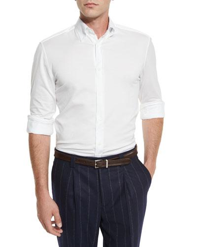 Jersey Long-Sleeve Sport Shirt, White