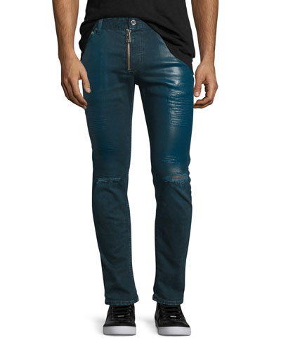 Coated Slim-Fit Distressed Jeans, Blue