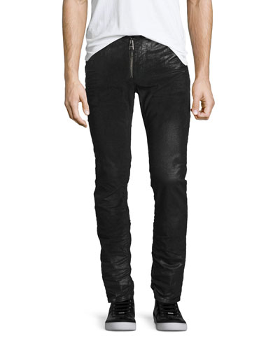 Coated Zip-Front Corduroy Pants, Black