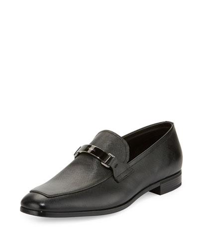 Saffiano Leather Bit Loafer, Black