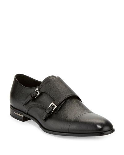 Saffiano Leather Double-Monk Shoe, Black