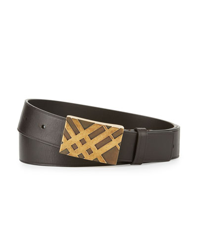 Brit Check-Buckle Leather Casual Belt, Oak Brown