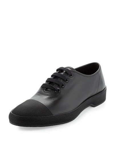 Textured Cap-Toe Lace-Up Sneaker, Black