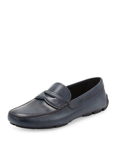 Smooth Leather Penny Loafer, Blue