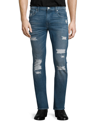 Paxtyn Forgotten Cove Distressed Denim Jeans, Blue