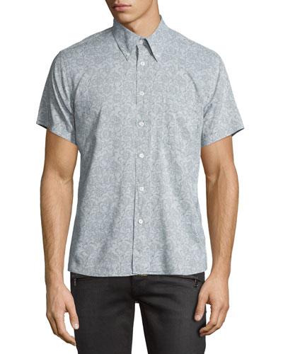 Floral Short-Sleeve Oxford Shirt