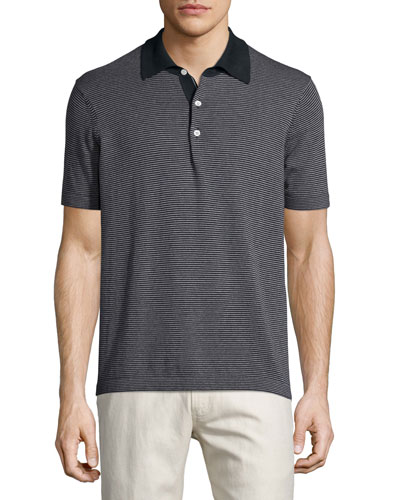 Striped Short-Sleeve Pique Polo Shirt, Navy