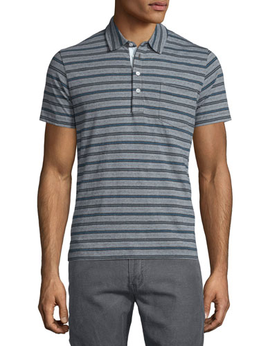 Striped Short-Sleeve Polo Shirt, Blue Pattern
