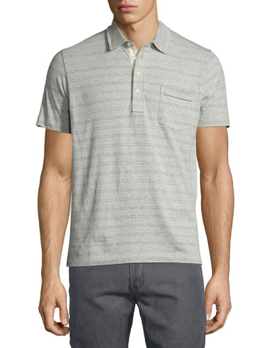 Striped Short-Sleeve Polo Shirt, Light Gray