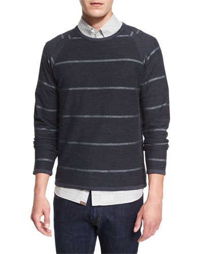 Striped Long-Sleeve Knit Sweater, Navy