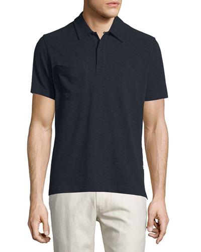 Solid Short-Sleeve Pique Polo Shirt, Navy