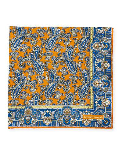 Paisley-Print Silk Pocket Square, Purple