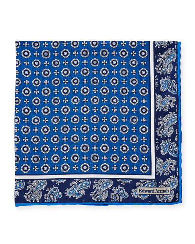 Circle-Medallion Printed Silk Pocket Square, Blue
