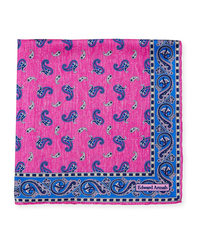 Paisley-Print Silk Pocket Square, Pink