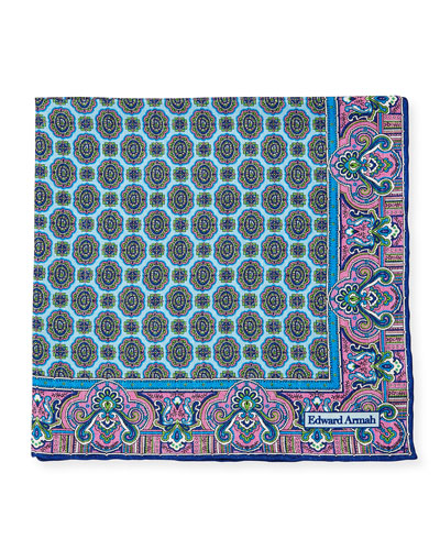 Oval-Medallion Print Silk Pocket Square, Light Blue