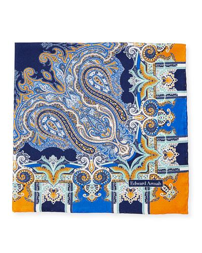 Scarf-Paisley Print Silk Pocket Square, Navy