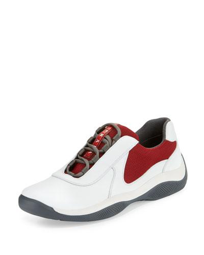 Punta Ala Mesh Sneaker, White/Red