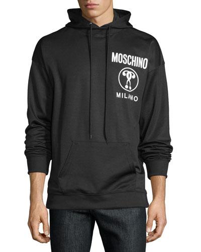 Logo-Front Long-Sleeve Hoodie, Black