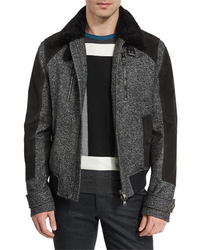 Tweed & Leather Bomber Jacket w/Shearling Trim