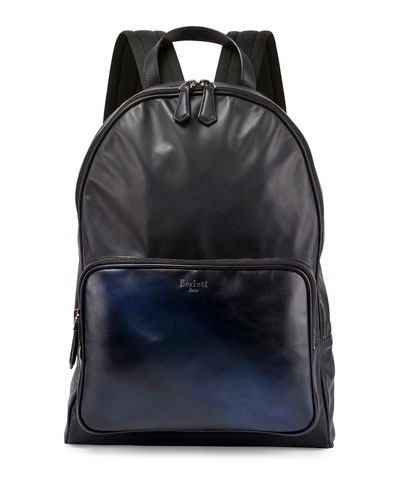 Time Off Mesh-Back Leather Backpack, Navy