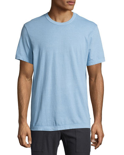 Crewneck Knit T-Shirt, Light Blue