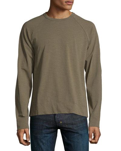 Slub Jersey Raglan Crewneck T-Shirt, Taupe