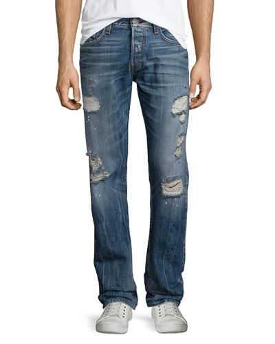 Geno Distressed Straight-Leg Jeans, Blue Misfit