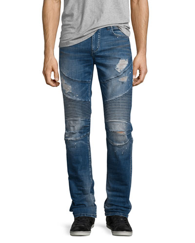 Rocco Distressed Moto Denim Jeans, Blue Misfit