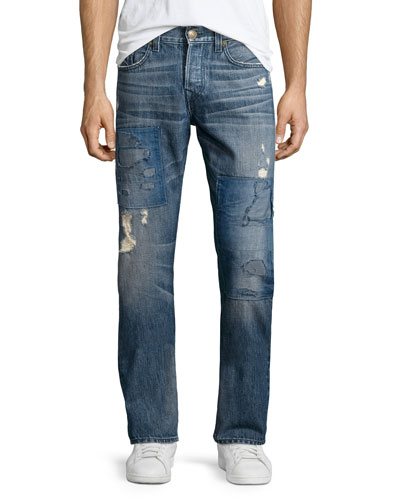 Geno Distressed Patchwork Denim Jeans