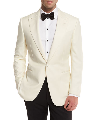 Satin-Lapel One-Button Dinner Jacket, White