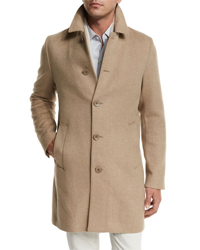 Dweller Wool-Cashmere Single-Breasted Coat, Desert Rose Melange/Gray Ice