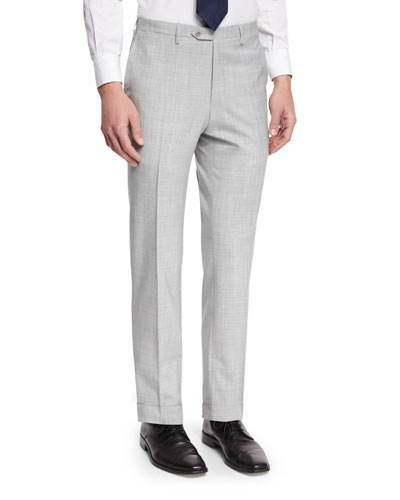 Solid Flat-Front Wool Trousers, Gray