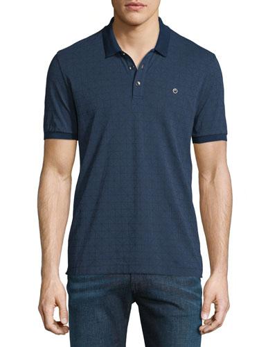 Diamond-Grid Print Short-Sleeve Polo Shirt, Navy